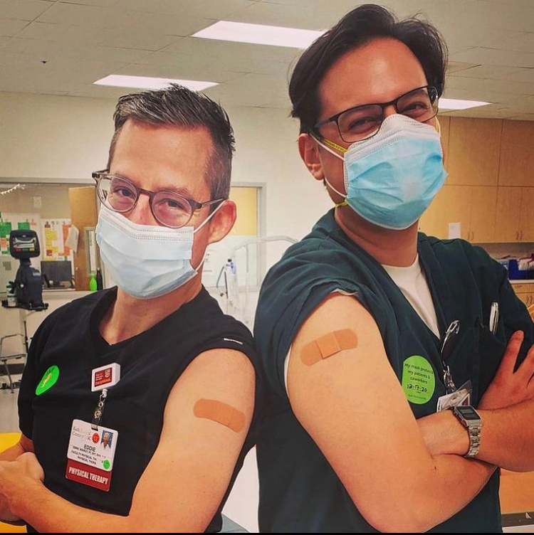 Health care workers who have been vaccinated.